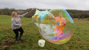 Team building bubble workshop in Wiltshire.
