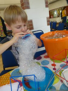 Bubble activity table at a party in Filton, Bristol.